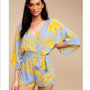 Lulus Fontana Light Blue and Yellow Leaf Romper